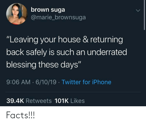 """Facts, Iphone, and Twitter: brown suga  @marie_brownsuga  """"Leaving your house & returning  back safely is such an underrated  blessing these days""""  9:06 AM 6/10/19 Twitter for iPhone  39.4K Retweets 101K Likes Facts!!!"""