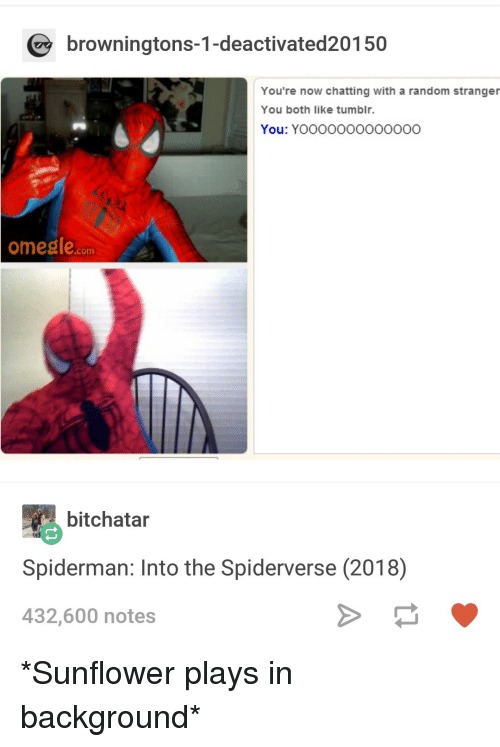 Tumblr, Spiderman, and Random: browningtons-1-deactivated20150  You're now chatting with a random stranger  You both like tumblr.  You: YOoooOOOOO00OO  omeale.com  bitchatar  Spiderman: Into the Spiderverse (2018)  432,600 notes *Sunflower plays in background*