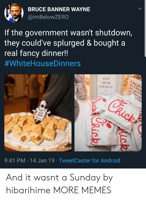 Android, Dank, and Memes: BRUCE BANNER WAYNE  @imBeloWZERO  If the government wasn't shutdown,  they could've splurged & bought a  real fancv dinner!!  #whiteHouseDinners  EAT  MOR  CHIKIN  EAT  MOR  9:41 PM 14 Jan 19 TweetCaster for Android And it wasnt a Sunday by hibarihime MORE MEMES