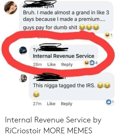 Bruh, Dank, and Dumb: Bruh. I made almost a grand in like 3  days because I made a premium  guys pay for dumb shit  Tyl  Internal Revenue Service  4  28m Like Reply  This nigga tagged the IRS.  01  27m Like Reply Internal Revenue Service by RiCriostoir MORE MEMES