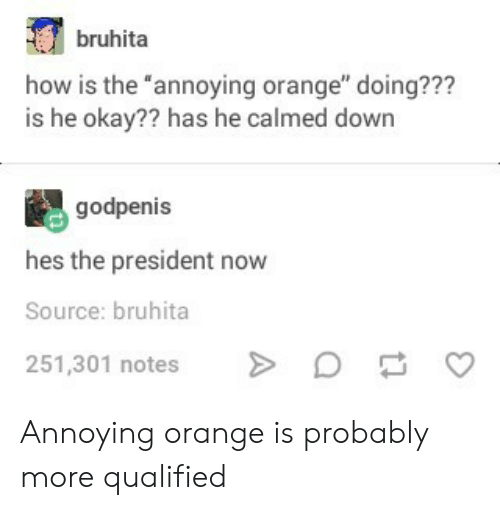 """Okay, Orange, and Annoying: bruhita  how is the """"annoying orange"""" doing???  is he okay?? has he calmed down  godpenis  hes the president now  Source: bruhita  251,301 notesD  C Annoying orange is probably more qualified"""