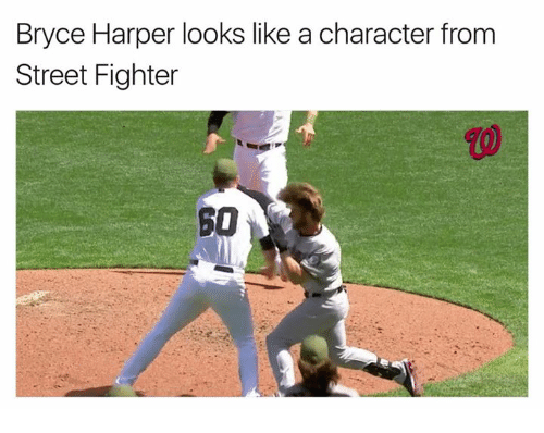 Street Fighter, Bryce Harper, and Character: Bryce Harper looks like a character from  Street Fighter  SO