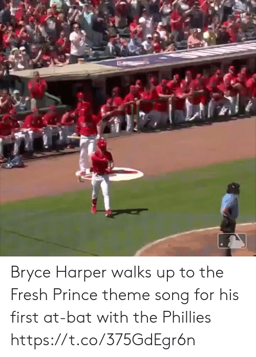 Fresh, Memes, and Philadelphia Phillies: Bryce Harper walks up to the Fresh Prince theme song for his first at-bat with the Phillies https://t.co/375GdEgr6n
