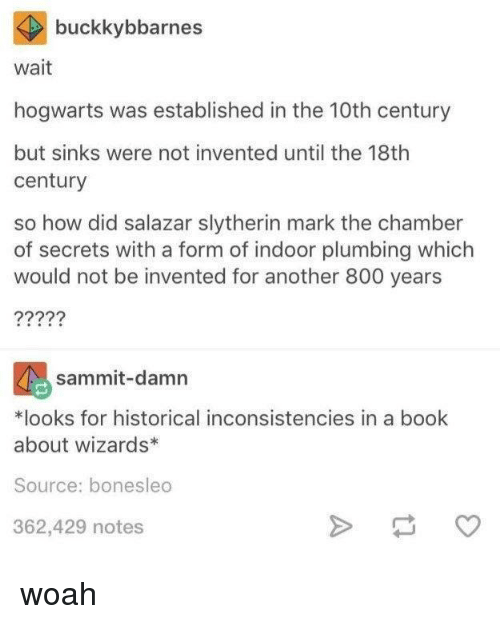 Slytherin, Book, and Wizards: buckkybbarnes  wait  hogwarts was established in the 10th century  but sinks were not invented until the 18th  century  so how did salazar slytherin mark the chamber  of secrets with a form of indoor plumbing which  would not be invented for another 800 years  sammit-damn  *looks for historical inconsistencies in a book  about wizards*  Source: bonesleo  362,429 notes woah