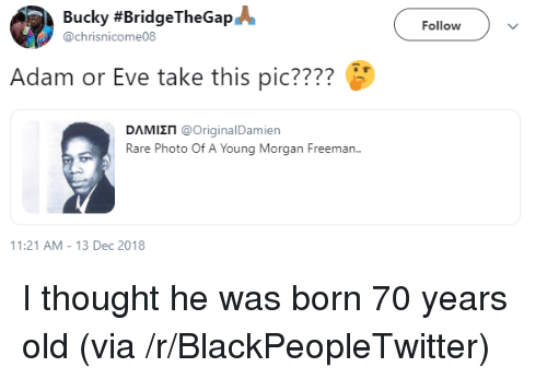 Blackpeopletwitter, Morgan Freeman, and Old: Bucky #BridgeTheGap@  @chrisnicome08  Followv  Adam or Eve take this pic????  DAMI П @OriginalDamien  Rare Photo Of A Young Morgan Freeman.  1:21 AM-13 Dec 2018 I thought he was born 70 years old (via /r/BlackPeopleTwitter)