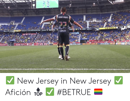 America, Club, and New Jersey: BUD LIGHT  11:57  CLUB AMERICA  CHIVA  AMLCA s MER 500P  30PM 6p JULIO SEATTLE TICKETS p COLOSSUSCUP.COM oCANZA tomios  e m  ENA OFICAL ENLINE BOCASHOPCOMAR  KHIH ✅ New Jersey in New Jersey ✅ Afición 🔝 ✅ #BETRUE 🏳️🌈