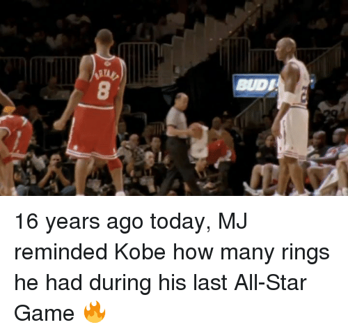 All Star, Game, and Kobe: BUDI 16 years ago today, MJ reminded Kobe how many rings he had during his last All-Star Game 🔥
