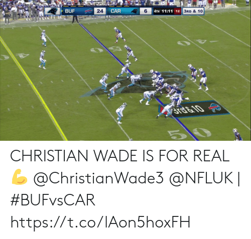 Wade: BUF  24  CAR  6  4TH 11:11 12  3RD & 10  STE&10  5 CHRISTIAN WADE IS FOR REAL 💪  @ChristianWade3 @NFLUK | #BUFvsCAR https://t.co/lAon5hoxFH