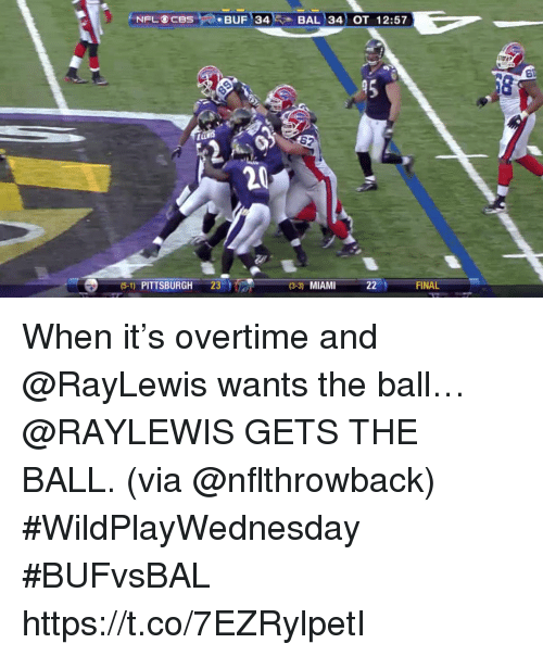 Memes, Pittsburgh, and 🤖: ). BUF' 34E, BAL ) 34) OT  12:57  45  62  20  (5-1) PITTSBURGH 23  (3-3) MIAM  FINAL When it's overtime and @RayLewis wants the ball…   @RAYLEWIS GETS THE BALL. (via @nflthrowback) #WildPlayWednesday #BUFvsBAL https://t.co/7EZRylpetI