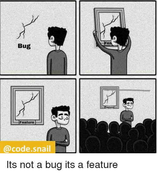 Code, Snail, and Bug: Bug  eaturo  Feature  @code.snail Its not a bug its a feature