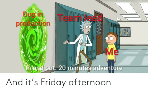 Friday, Bug, and Adventure: Bug in  Teaniggio  procerction  Me  In and out. 20 minutes adventure  இல And it's Friday afternoon