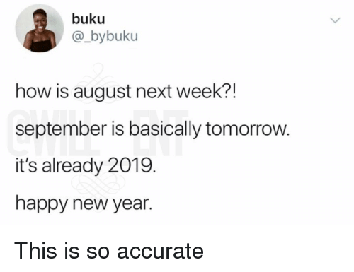 Memes, New Year's, and Happy: buku  @_bybuku  how is august next week?!  september is basically tomorrow.  it's already 2019.  happy new year. This is so accurate