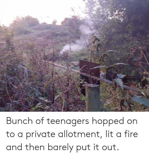 Fire, Lit, and Trashy: Bunch of teenagers hopped on to a private allotment, lit a fire and then barely put it out.