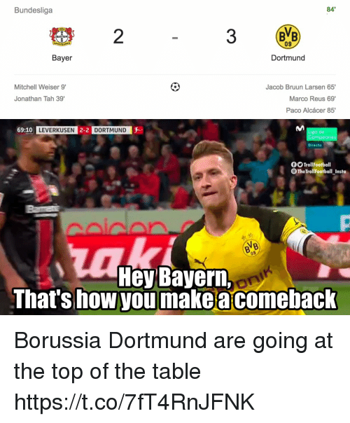 "Memes, Bayern, and Borussia Dortmund: Bundesliga  84  904  2  B""B  09  BAYER  Bayer  Dortmund  Mitchell Weiser 9'  Jacob Bruun Larsen 65'  Marco Reus 69'  Paco Alcácer 85'  Jonathan Tah 39  69:10 LEVERKUSEN 2-2 D  DORTMUND  go de  ones  Directo  TrollFootball  TheTrollFootball Instoa  Hey Bayern,  Thats how you make a comeback  On Borussia Dortmund are going at the top of the table https://t.co/7fT4RnJFNK"