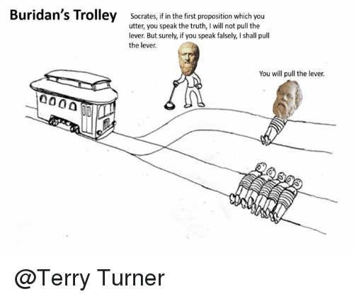 trolleys: Buridan's Trolley Socrates, if in the first proposition which you  utter, you speak the truth, I will not pull the  lever. But surely, if you speak falsely, I shall pull  the lever.  You will pull the lever.  0000 @Terry Turner