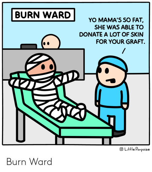 Yo, Fat, and Donate: BURN WARD  YO MAMA'S SO FAT,  SHE WAS ABLE TO  DONATE A LOT OF SKIN  FOR YOUR GRAFT  OLittle Porpoise Burn Ward