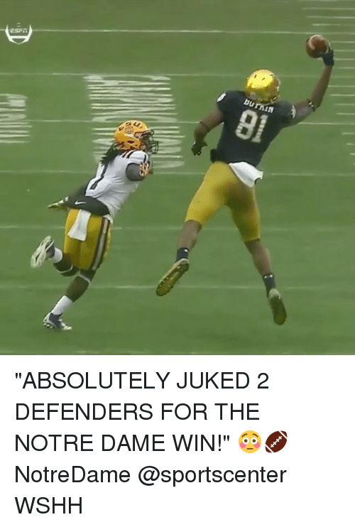 """juked: burnin  01 """"ABSOLUTELY JUKED 2 DEFENDERS FOR THE NOTRE DAME WIN!"""" 😳🏈 NotreDame @sportscenter WSHH"""
