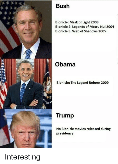 Trump No: Bush  Bionicle: Mask of Light 2003  Bionicle 2: Legends of Metru Nui 2004  Bionicle 3: Web of Shadows 2005  Obama  Bionicle: The Legend Reborn 2009  rudy mustang  Trump  No Bionicle movies released during  presidency Interesting