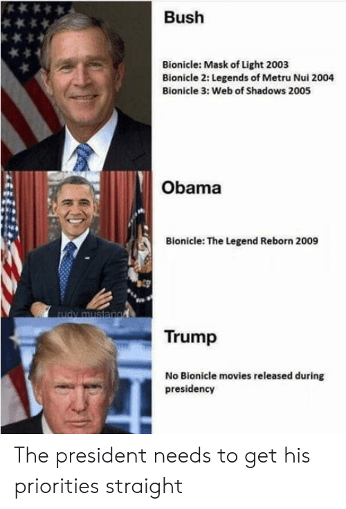 Trump No: Bush  Bionicle: Mask of Light 2003  Bionicle 2: Legends of Metru Nui 2004  Bionicle 3: Web of Shadows 2005  Obama  Bionicle: The Legend Reborn 2009  Trump  No Bionicle movies released during  presidency The president needs to get his priorities straight