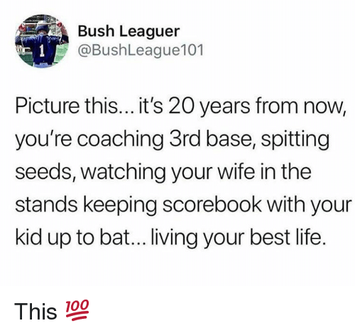 Life, Mlb, and Best: Bush Leaguer  @BushLeague101  Picture this... it's 20 years from now,  you're coaching 3rd base, spitting  seeds, watching your wife in the  stands keeping scorebook with your  kid up to bat... living your best life. This 💯