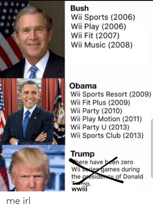 wii: Bush  Wii Sports (2006)  Wii Play (2006)  Wii Fit (2007)  Wii Music (2008)  Obama  Wii Sports Resort (2009)  Wii Fit Plus (2009)  Wii Party (2010)  Wii Play Motion (2011)  Wii Party U (2013)  Wii Sports Club (2013)  rudy mustano  Trump  here have been zero  Wii sories games during  the presidenSy of Donald  mp.  wwii me irl