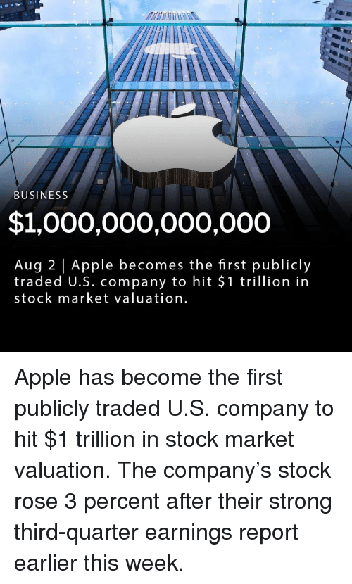 Apple, Memes, and Business: BUSINESS  $1,000,000,000,000  Aug 2 Apple becomes the first publicly  traded U.S. company to hit $1 trillion in  stock market valuation Apple has become the first publicly traded U.S. company to hit $1 trillion in stock market valuation. The company's stock rose 3 percent after their strong third-quarter earnings report earlier this week.