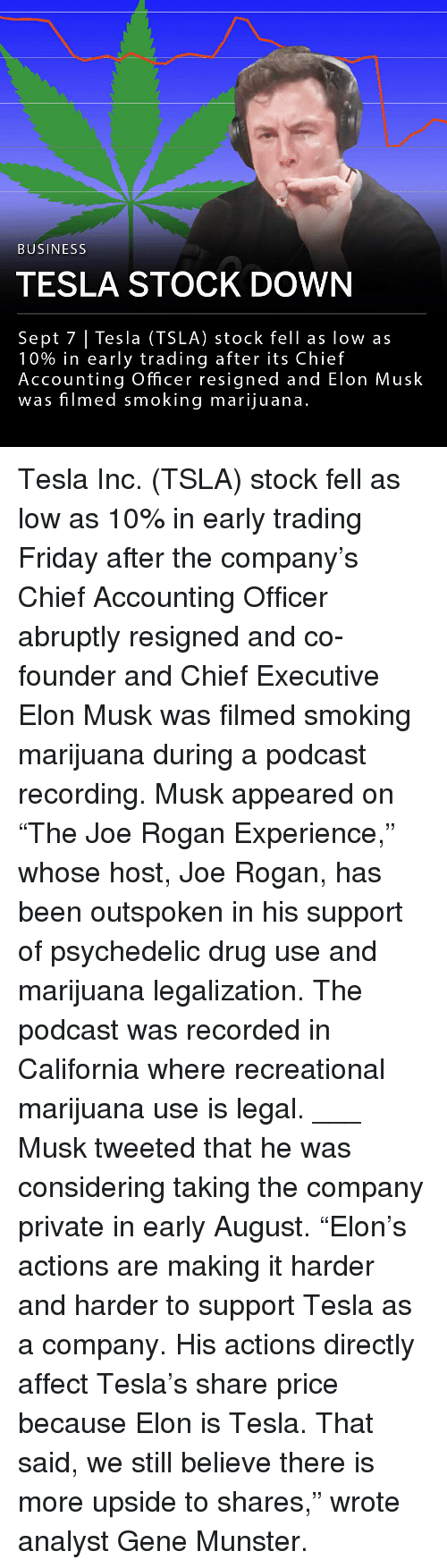 """psychedelic: BUSINESS  TESLA STOCK DOWN  Sept 7 