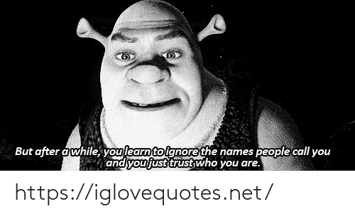 who you are: But after awhile, youlearnto ignore the names people call you  and you just trust who you are. https://iglovequotes.net/
