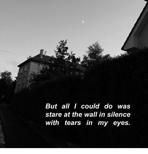 Silence, The Wall, and All: But all I could do was  stare at the wall in silence  with tears in my eyes.