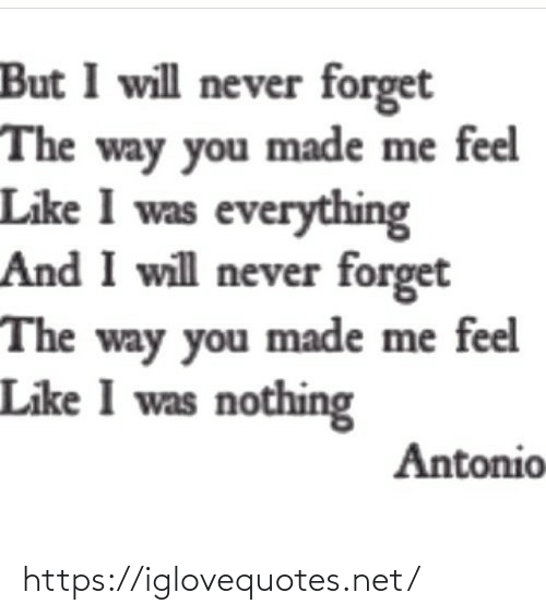 feel like: But I will never forget  The way you made me feel  Like I was everything  And I will never forget  The way you made me feel  Like I was nothing  Antonio https://iglovequotes.net/