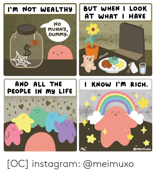 At What: BUT WHENI LOOK  AT WHAT I HAVE  I'm NOT WEA LTHY  No  MUNNY,  DUMMY.  AND ALL THE  PEOPLE IN my LIFE  I KNOW I'M RICH.  @meimuxo [OC] instagram: @meimuxo