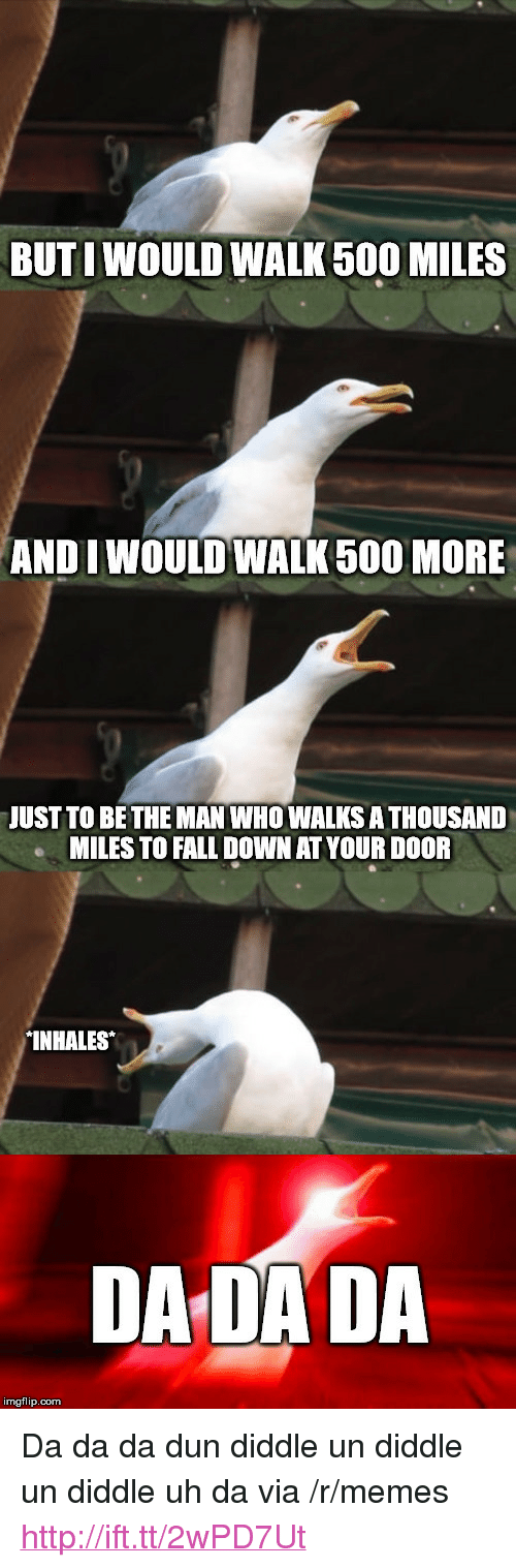 "500 Miles: BUTI WOULD WALK 500 MILES  ANDI WOULD WALK 500 MORE  JUST TO BETHE MAN WHO WALKS A THOUSAND  MILES TO FALL DOWN AT YOUR DOOR  INHALES  DA DADA  imgflip.com <p>Da da da dun diddle un diddle un diddle uh da via /r/memes <a href=""http://ift.tt/2wPD7Ut"">http://ift.tt/2wPD7Ut</a></p>"