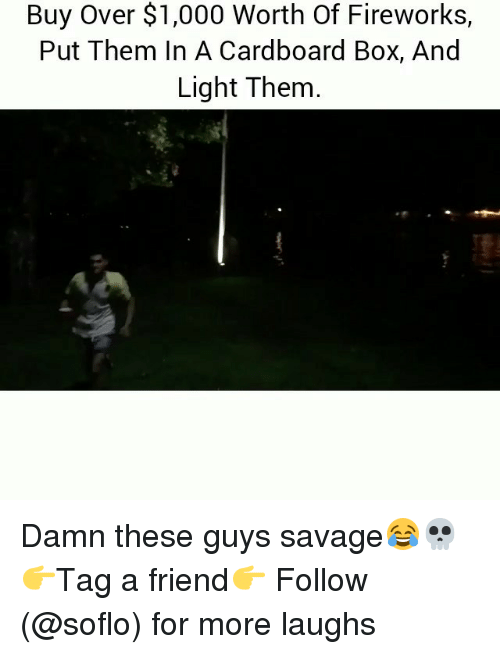 Memes, Savage, and Fireworks: Buy Over $1,000 Worth Of Fireworks,  Put Them In A Cardboard Box, And  Light Them Damn these guys savage😂💀 👉Tag a friend👉 Follow (@soflo) for more laughs