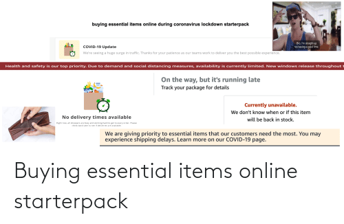 Buying: Buying essential items online starterpack