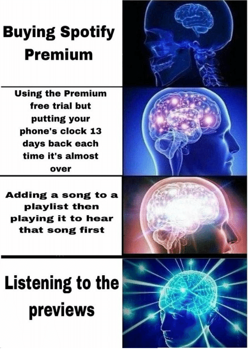 Clock, Spotify, and Free: Buying Spotify  Premium  Using the Premium  free trial but  putting your  phone's clock 13  days back each  time it's almost  over  Adding a song to a  playlist then  playing it to hear  that song first  Listening to the  previews
