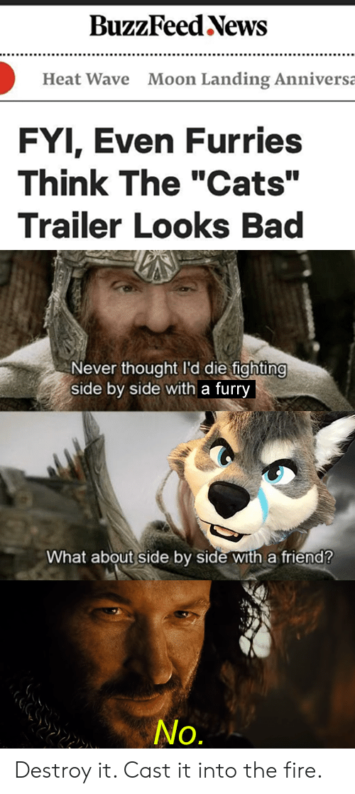 """furries: BuzzFeed News  Moon Landing Anniversa  Heat Wave  FYI, Even Furries  Think The """"Cats""""  Trailer Looks Bad  Never thought I'd die fighting  side by side with a furry  What about side by side with a friend?  No. Destroy it. Cast it into the fire."""