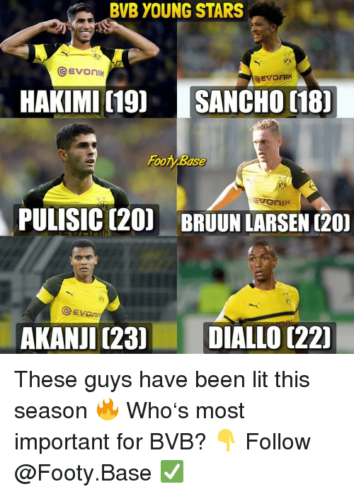 bvb: BVB YOUNG STARS  09  HAKIMI (19 SANCHO 18  Footy Base  BYB  09  PULISIC (20) BRUUN LARSEN (20  eEVOn  AKANJI (23DIALLO [221 These guys have been lit this season 🔥 Who's most important for BVB? 👇 Follow @Footy.Base ✅