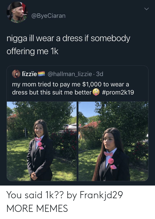 Dank, Memes, and Target: @ByeCiaran  nigga ill wear a dress if somebody  offering me 1k  lizzie@hallman_lizzie 3d  my mom tried to pay me $1,000 to wear a  dress but this suit me better You said 1k?? by Frankjd29 MORE MEMES