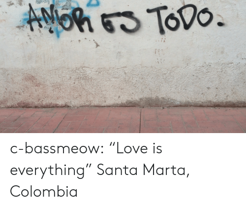 """Love, Tumblr, and Blog: c-bassmeow:  """"Love is everything""""  Santa Marta, Colombia"""