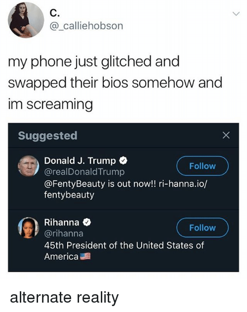 bios: C.  @_calliehob  son  my phone just glitched and  swapped their bios somehow and  im screaming  Suggested  Donald J. Trump  @realDonaldTrump  @FentyBeauty is out now!! ri-hanna.io/  fentybeauty  Follow  Rihanna Q  @rihanna  45th President of the United States of  America  Follow alternate reality