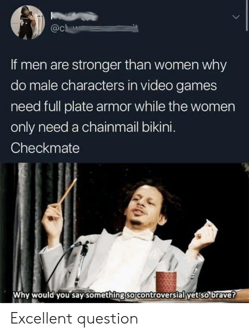 checkmate: @c  If men are stronger than women why  do male characters in video games  need full plate armor while the women  only need a chainmail bikini.  Checkmate  Why would you say something so controversial yet so brave? Excellent question