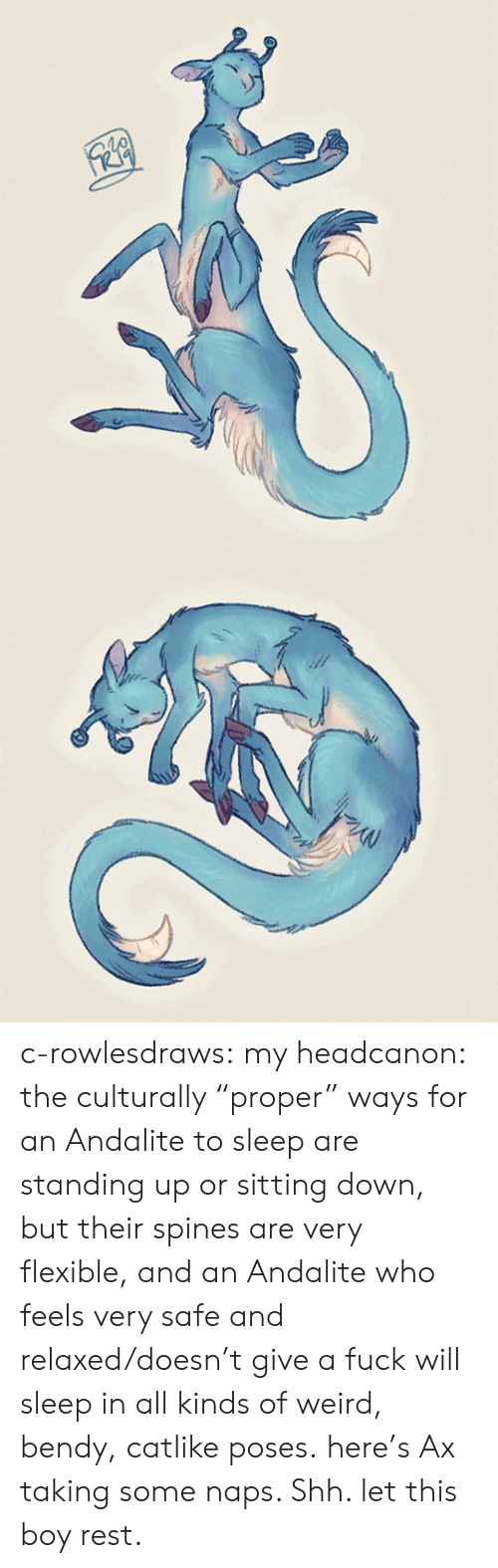 """Give A Fuck: c-rowlesdraws: my headcanon: the culturally """"proper"""" ways for an Andalite to sleep are standing up or sitting down, but their spines are very flexible, and an Andalite who feels very safe and relaxed/doesn't give a fuck will sleep in all kinds of weird, bendy, catlike poses. here's Ax taking some naps. Shh. let this boy rest."""