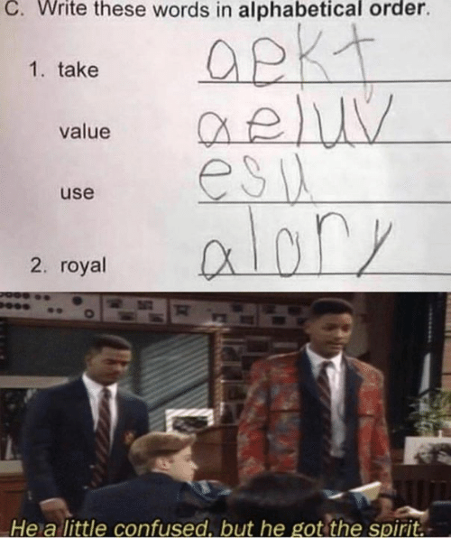 Confused, Dank, and Spirit: C. Write these words in alphabetical order.  1. take  QeluV  esia  alory  value  use  CX  2. royal  He a little confused, but he got the spirit.