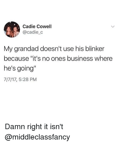"""Funny, Business, and Girl Memes: Cadie Cowell  @cadie_c  My grandad doesn't use his blinker  because""""it's no ones business where  he's going""""  7/7/17, 5:28 PM Damn right it isn't @middleclassfancy"""