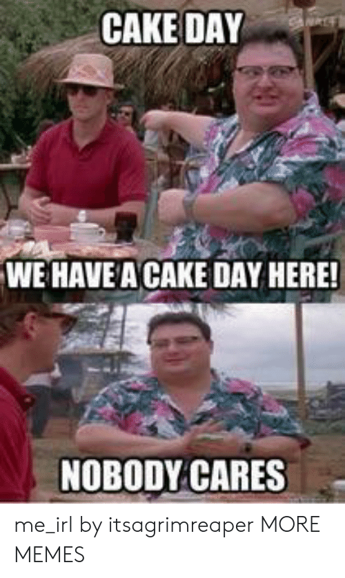 nobody cares: CAKE DAY  WE HAVE A CAKE DAY HERE!  NOBODY CARES me_irl by itsagrimreaper MORE MEMES