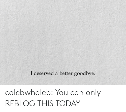 Tumblr, Blog, and Today: calebwhaleb:  You can only REBLOG THIS TODAY