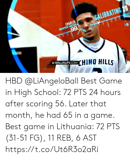 ast: CALIBRATING 20  ENABLED  SNIPER MODE  66  6 BALLISIFE.COMHINO HILLS HBD @LiAngeloBall  Best Game in High School: 72 PTS 24 hours after scoring 56. Later that month, he had 65 in a game.   Best game in Lithuania: 72 PTS (31-51 FG), 11 REB, 6 AST https://t.co/Ut6R3o2aRi