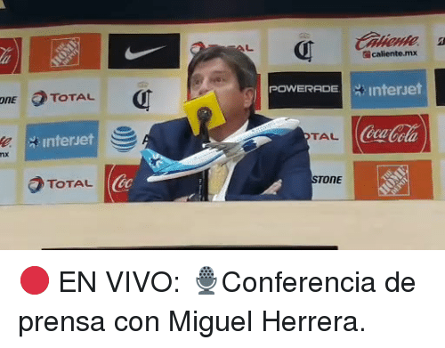 powerade: caliente.mx  POWERADE | interet  OnE TOTAL  ONE  CocaCola  TAL  Interuet  TOTAL  NE 🔴 EN VIVO: 🎙Conferencia de prensa con Miguel Herrera.