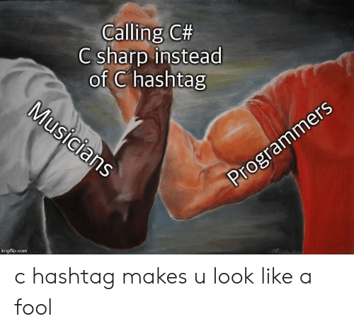 Com, Sharp, and Hashtag: Calling C#  C sharp instead  of C hashtag  Musicians  Programmers  imgflip.com c hashtag makes u look like a fool