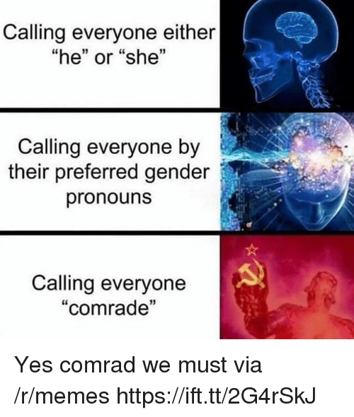 "Memes, Gender, and Yes: Calling everyone either  ""he"" or ""she""  1  Calling everyone by  their preferred gender  pronouns  Calling everyone  ""comrade  13 Yes comrad we must via /r/memes https://ift.tt/2G4rSkJ"